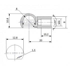 Gniazdo kulowe otwór o średnicy 8mm gwint M6 długość 20mm