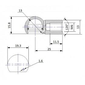 Gniazdo kulowe otwór o średnicy 13mm gwint M6 długość 25mm