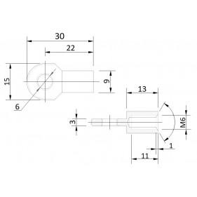 Przegub oczkowy otwór o średnicy 6mm gwint M6 długość 22mm grubość 03mm
