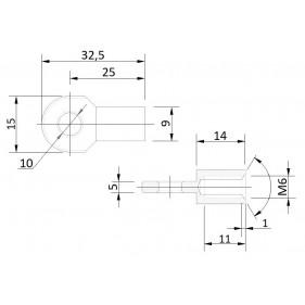 Przegub oczkowy otwór o średnicy 10mm gwint M6 długość 25mm grubość 5mm