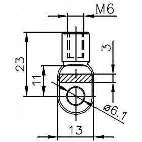 Przegub oczkowy otwór o średnicy 6mm gwint M6 długość 23mm grubość 3mm