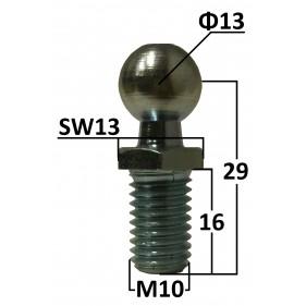Sworzeń kulowy 13mm na gwint M10