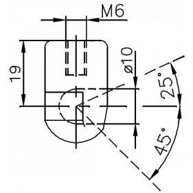 Gniazdo kulowe plastikowe otwór o średnicy 10mm gwint M6 długość 19mm