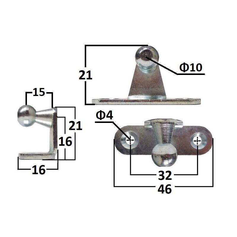 Wspornik kątowy ze sworzniem kulowym wewnętrznym o średnicy 10 mm długość 46mm (do 150N)