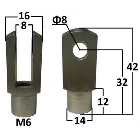 Przegub widełkowy otwór o średnicy 8mm gwint M6...