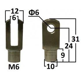 Przegub widełkowy otwór o średnicy 6mm gwint M6...