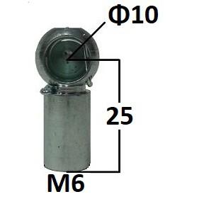 Gniazdo kulowe otwór o średnicy 10mm gwint M6...