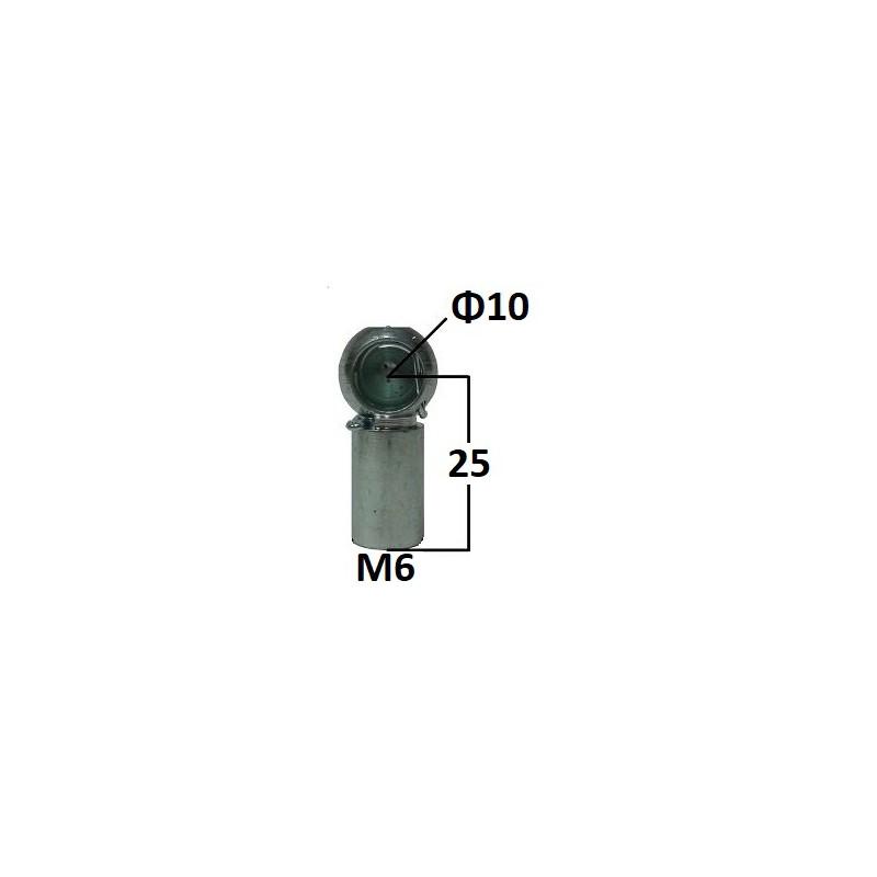 Gniazdo kulowe otwór o średnicy 10mm gwint M6 długość 25mm