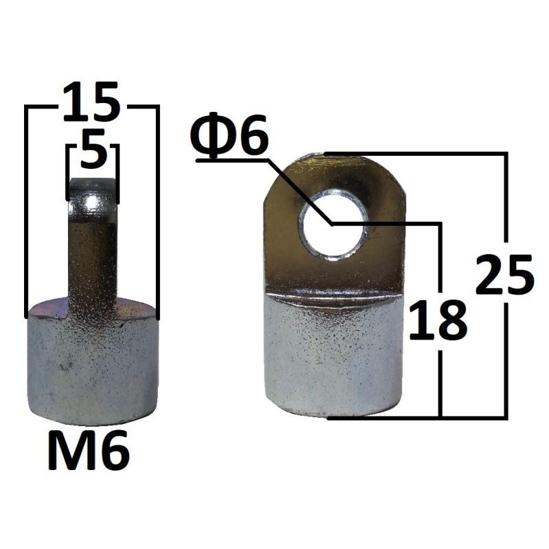 Przegub oczkowy otwór o średnicy 6mm gwint M6 długość 18mm grubość 5mm