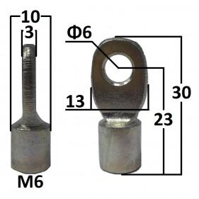 Przegub oczkowy otwór o średnicy 6mm gwint M6...