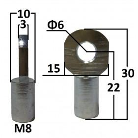 Przegub oczkowy otwór o średnicy 6mm gwint M8...