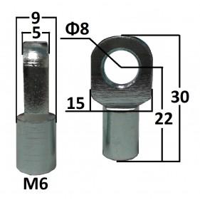 Przegub oczkowy otwór o średnicy 8mm gwint M6...