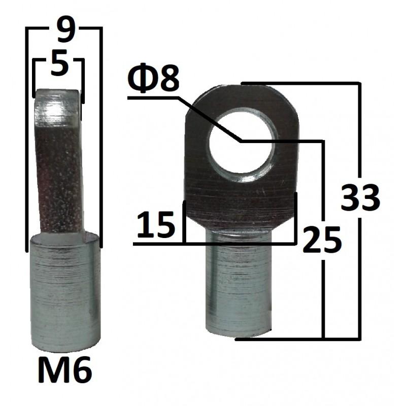 Przegub oczkowy otwór o średnicy 8mm gwint M6 długość 25mm grubość 5mm