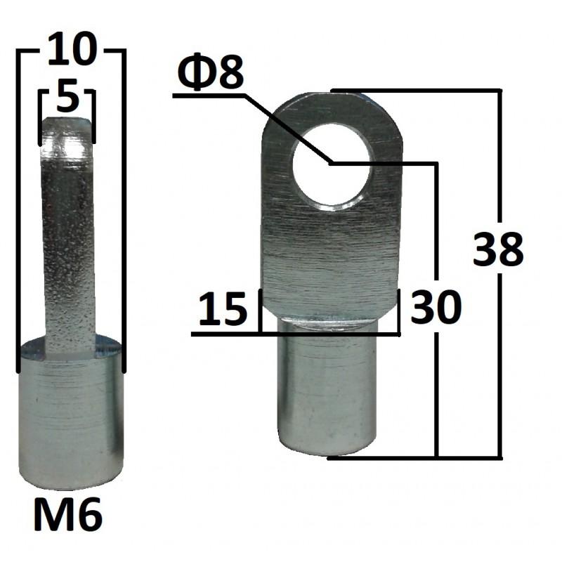 Przegub oczkowy otwór o średnicy 8mm gwint M6 długość 30mm grubość 5mm