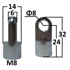 Przegub oczkowy otwór o średnicy 8mm gwint M8...